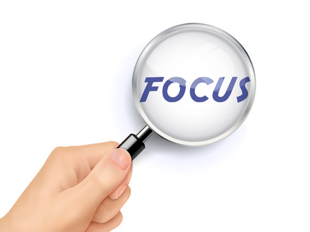 focus word showing through magnifying glass held by hand Ilustração