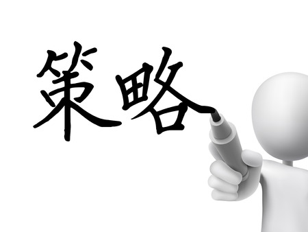 simplified: simplified Chinese words for Strategy written by 3d white man on a transparent board