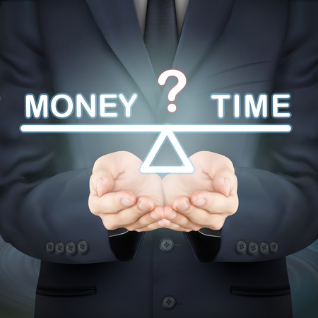 time money: close-up look at businessman holding money and time seesaw