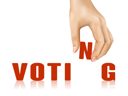 opportunity concept: voting word taken away by hand over white background