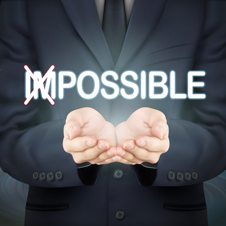 possible: close-up look at businessman holding possible words Illustration
