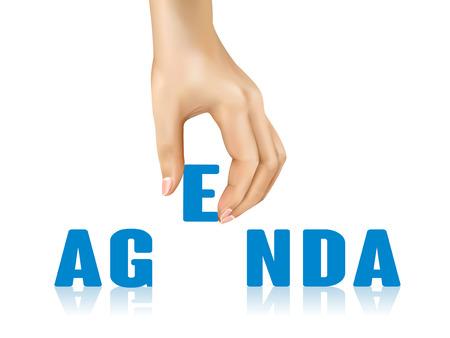 agenda: agenda word taken away by hand over white background