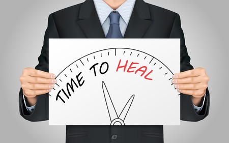 close-up look at businessman holding time to heal poster Illustration