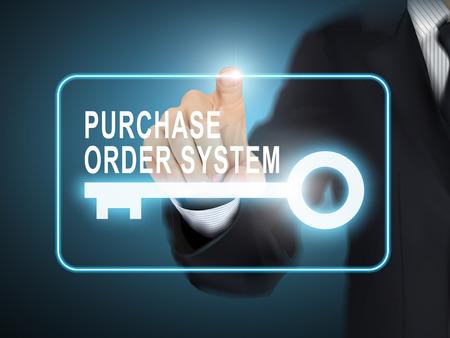 orden de compra: sistema de orden de compra pulsando mano masculina bot�n de la llave sobre fondo azul abstracto Vectores