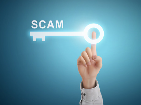 scamming: male hand pressing scam key button over blue abstract background Illustration