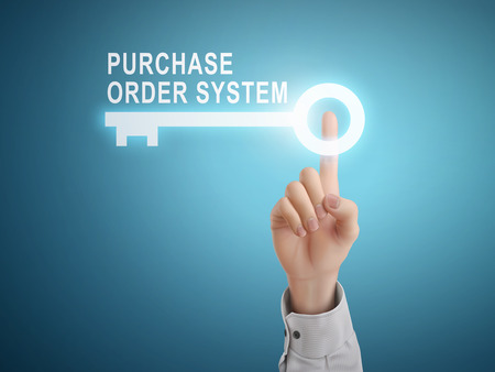 function key: male hand pressing purchase order system key button over blue abstract background Illustration
