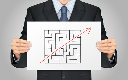 shortcut: close-up look at businessman holding break the rules poster Illustration