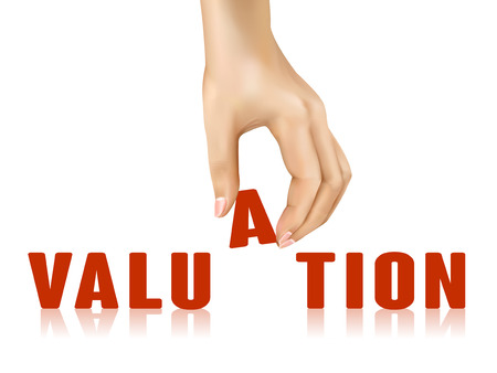 valuation: valuation word taken away by hand over white background