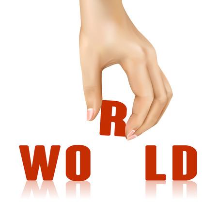 taken: world word taken away by hand over white background Illustration