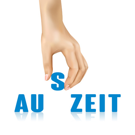 strips away: stop word in German taken away by hand over white background