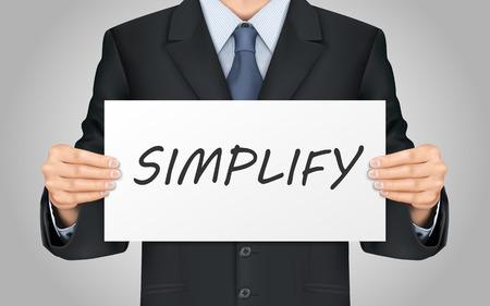 sophistication: primer plano de mira de negocios que sostiene el cartel palabra simplificar Vectores