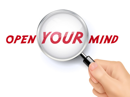 minded: open your mind words showing through magnifying glass held by hand