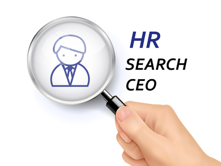 job hunting: HR search CEO words showing through magnifying glass held by hand