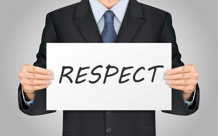 respetar: primer plano vistazo a hombre de negocios que sostiene el cartel palabra respeto