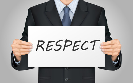 close-up look at businessman holding respect word poster