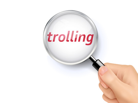 troll: trolling word showing through magnifying glass held by hand Illustration