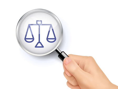 balance icon: balance icon showing through magnifying glass held by hand Illustration