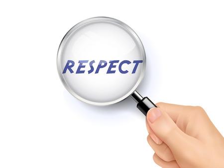 valores morales: palabra respeto que muestra a través de la lupa en poder de la mano Vectores