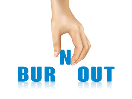 burnout: burnout word taken away by hand over white background Illustration