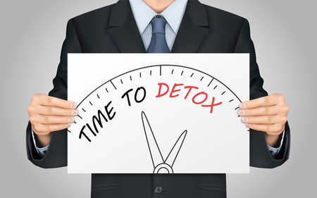 close-up look at businessman holding time to detox poster