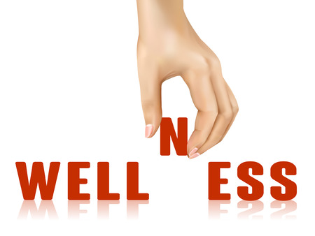 taken: wellness word taken away by hand over white background
