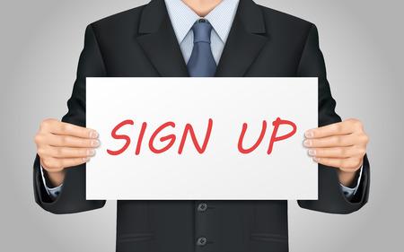 manos entrelazadas: close-up mira empresario sosteniendo firmar cartel Vectores