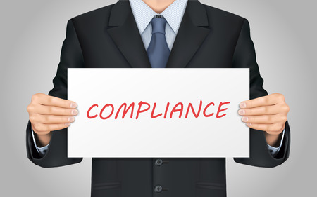 compliant: close-up look at businessman holding compliance word poster Illustration