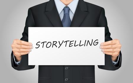 storytelling: close-up look at businessman holding storytelling word poster Illustration
