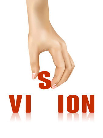 strategic position: vision word taken away by hand over white background