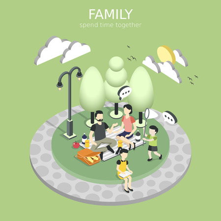 family having a picnic concept in flat 3d isometric graphic Ilustracja