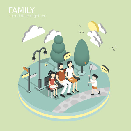 stylish: family spend time together concept in flat 3d isometric graphic