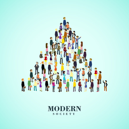 moderno concepto de la sociedad en el plano gráfico 3D isométrica