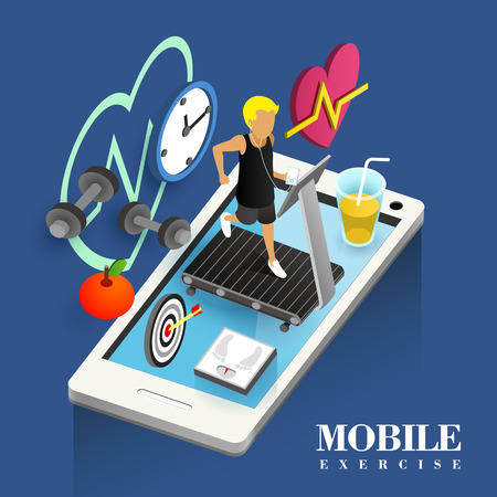 racecourse: mobile exercise concept in flat 3d isometric graphic Illustration