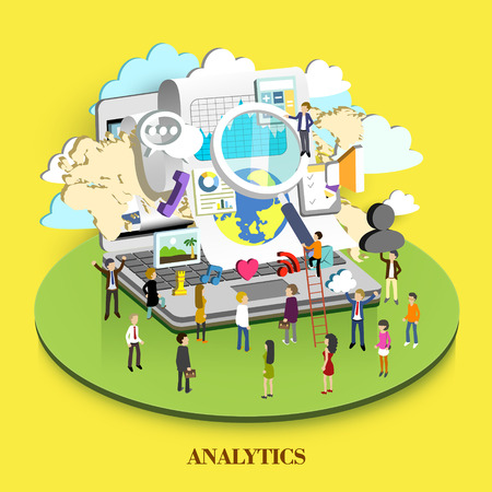 positioning: analytics concept in flat 3d isometric graphic