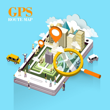 route map: GPS route map concept in flat 3d isometric graphic
