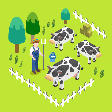grain fields: farm scenery concept in flat 3d isometric graphic