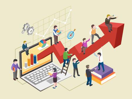 crecimiento: concepto de crecimiento económico en el plano gráfico 3D isométrica