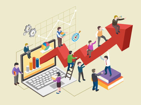 growing business: economic growth concept in flat 3d isometric graphic