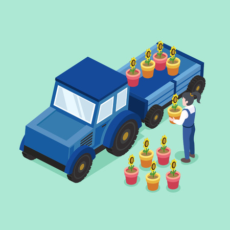 green environment: flower transportation concept in flat 3d isometric graphic