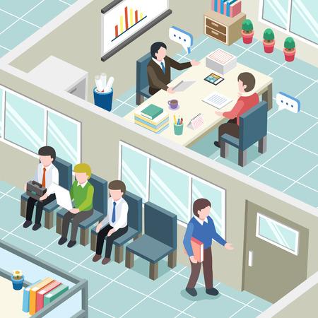 entrevista de trabajo: concepto de entrevista de trabajo en plano gráfico 3D isométrica