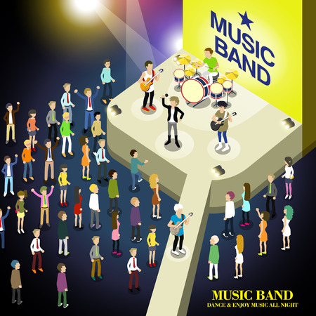 concert audience: music band concert concept in flat 3d isometric graphic