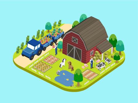farmland: adorable farmland concept in flat 3d isometric graphic Illustration