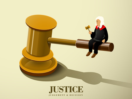 decision: justice concept with a judge sitting on a gavel in flat 3d isometric graphic