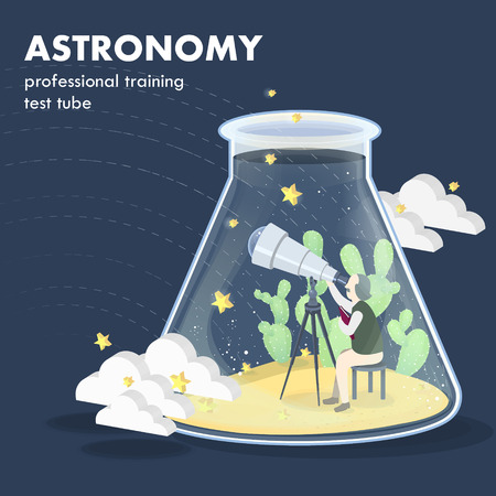 astronomy: astronomy concept in flat 3d isometric graphics