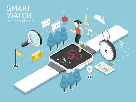 deporte: reloj-fitness inteligente y concepto de deporte en plano gráfico 3D isométrica