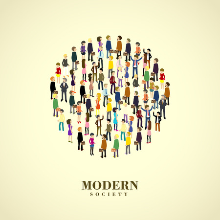modern society concept in flat 3d isometric graphic 일러스트