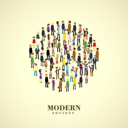 hombres trabajando: moderno concepto de la sociedad en el plano gr�fico 3D isom�trica Vectores