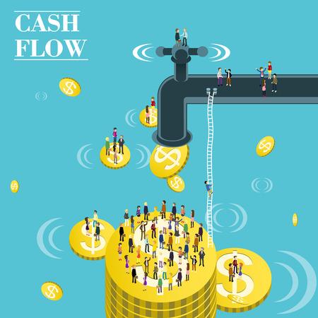vlakke 3d isometrische ontwerp van de cash flow