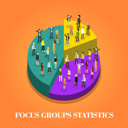 focus group: flat 3d isometric design of focus group statistics Illustration