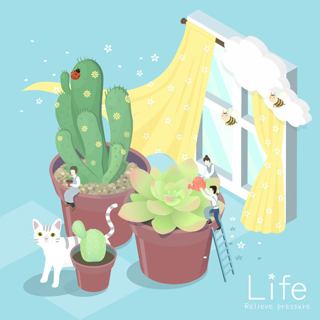 comfortable: flat 3d isometric design of comfortable life concept